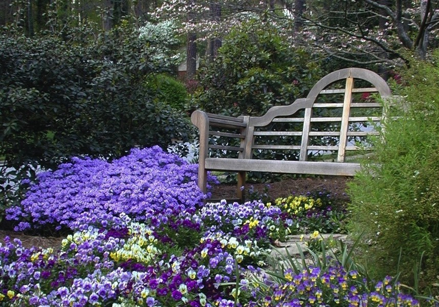 Relax on bench in perennials