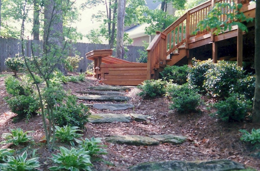 Multi level deck to woodland trail