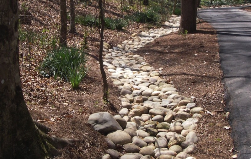 how to build a rock drainage ditch