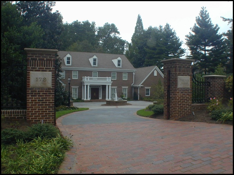 Estate driveway gated entrance brick