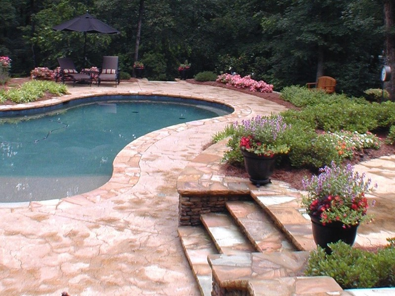 Crab orchard stone steps to pool