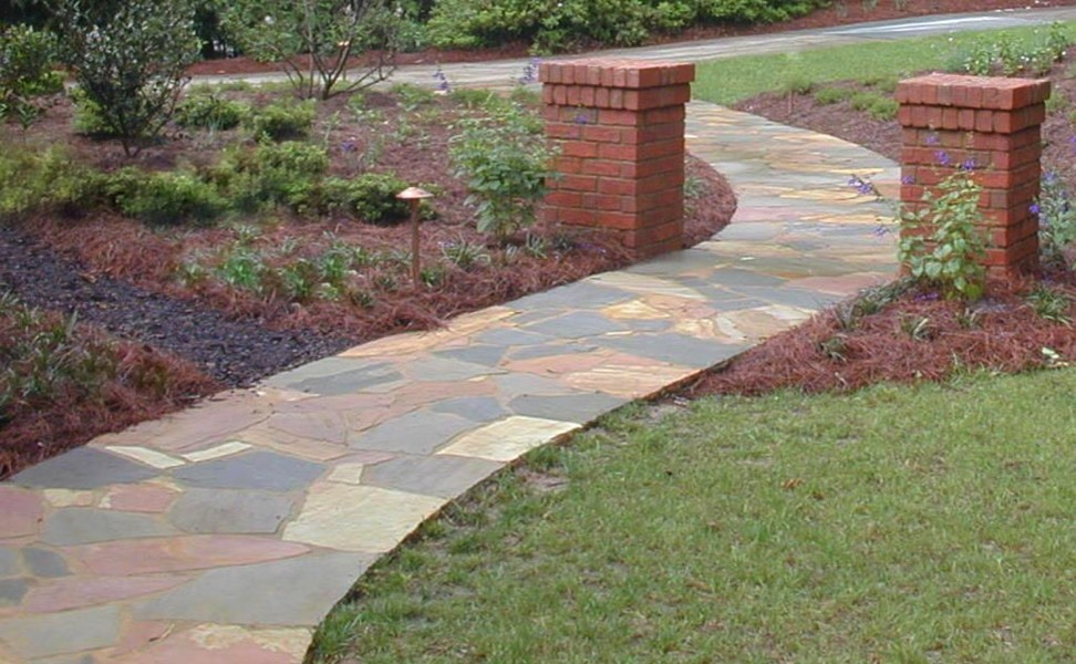 diy flagstone walkway flagstone path flagstone path tutorial in the garden pinterest
