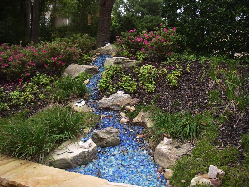 fake faux stream creek recycled glass
