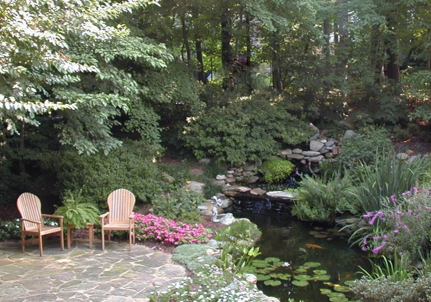 large pond natural waterfalls patio