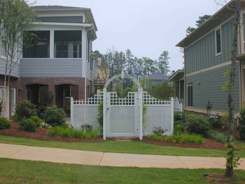 Corner lot side yard arbor focal point