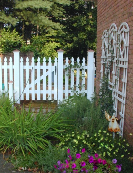 Small space picket fence herbs perennials