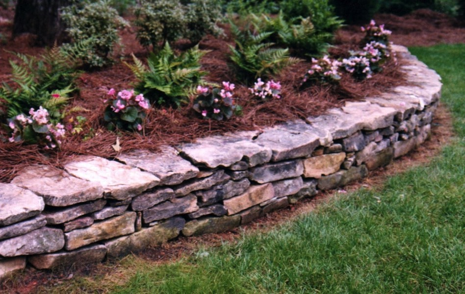 Low Stone Wall Flower Bed