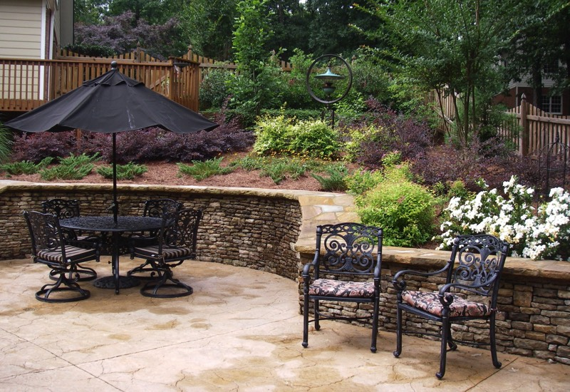 Fieldstone Rock Patios : Walls terraces pretty planter boxes seating terraced