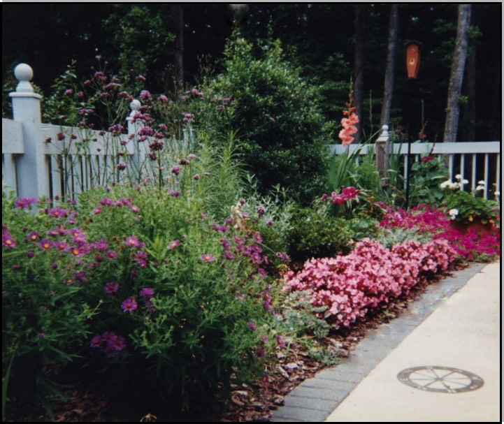 Cottage garden along picket fence