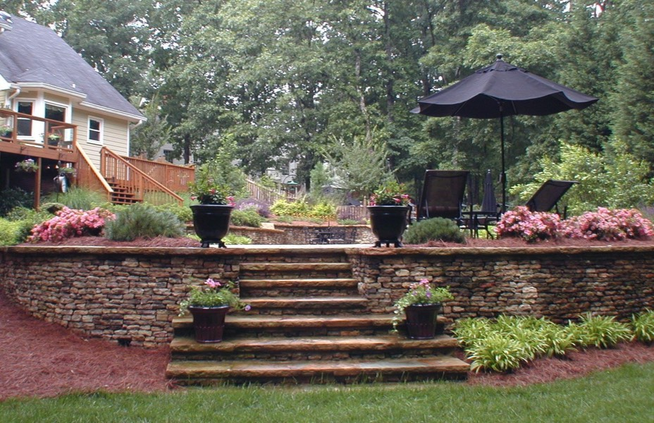 home and garden designs. Hardscape Retaining walls terracing stone masonry patio Residential Landscape Architect Design Build Home Garden