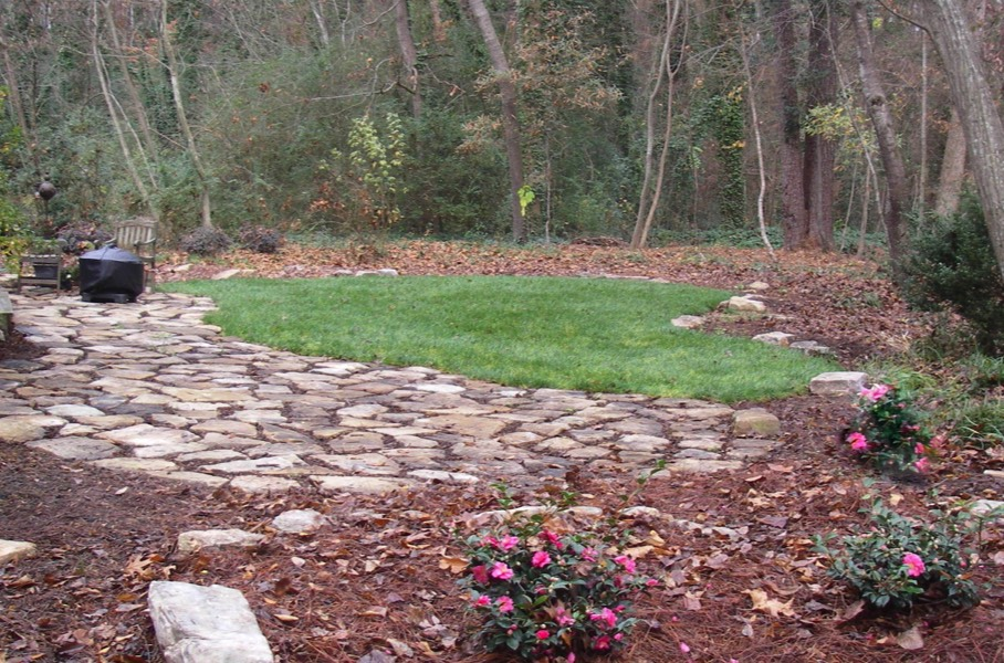 Rustic woodland stone patio