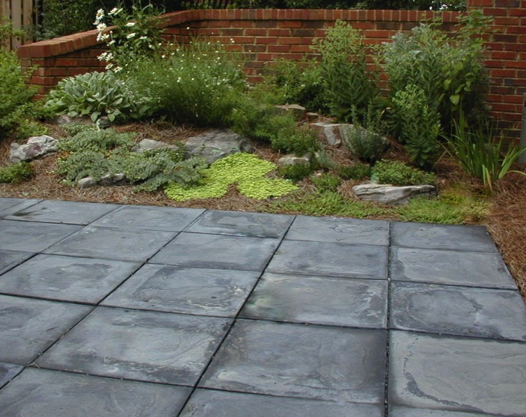 Square paver slate patio